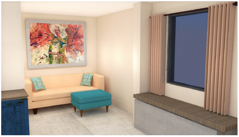 Oysters Theme Guest Room Rendering Seating Area
